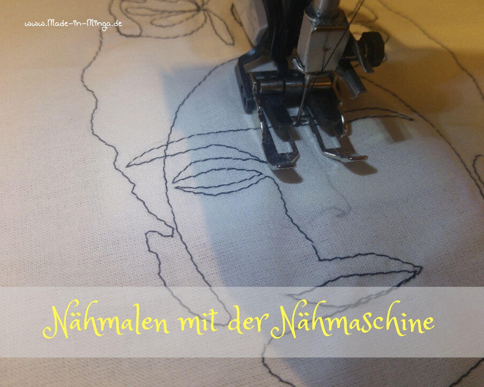 Motiv mit der Nähmaschine auf den Stoff malen