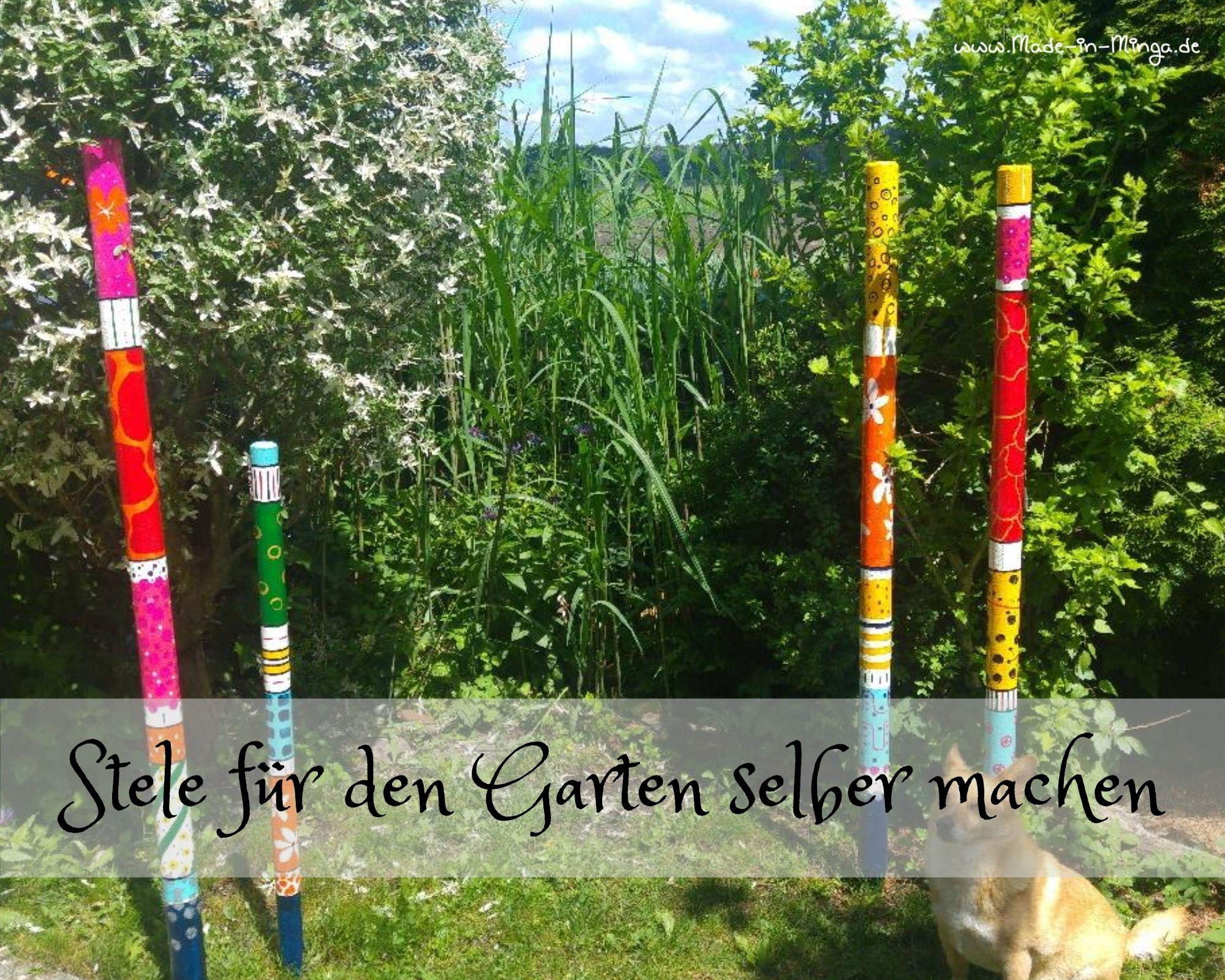 Garten Deko selbst gemacht Stele aus Holz, Anleitung