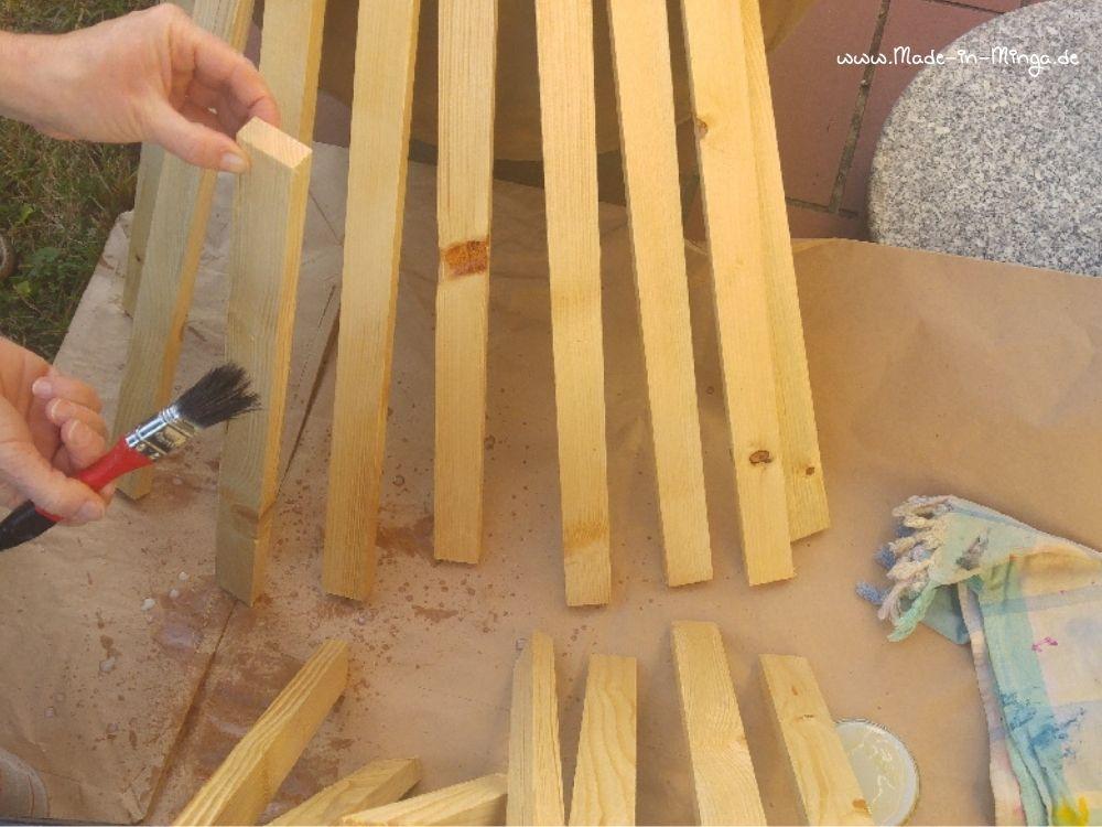 Holzlatten mit wetterschutz lasieren