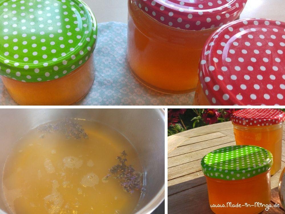 Lavendelgelee aus Apfelsaft aufkochen