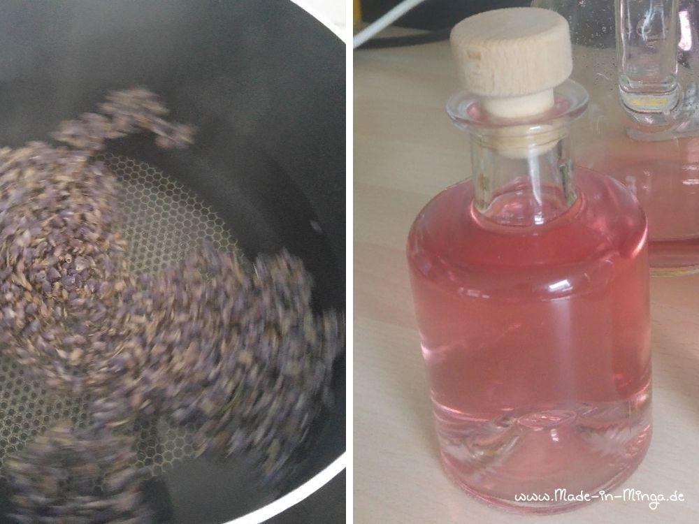 Lavendelbüten kochen im Sirup auf