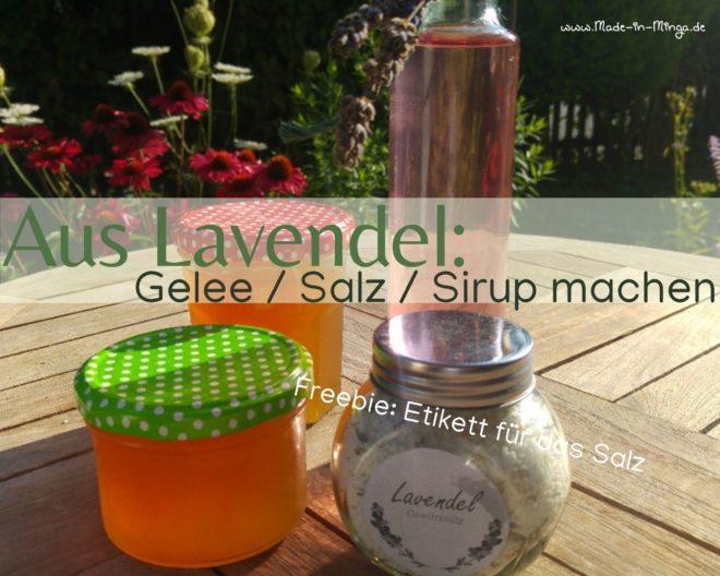 Gläser mit Lavendelsalz Lavendelsirup und lavendelgelee