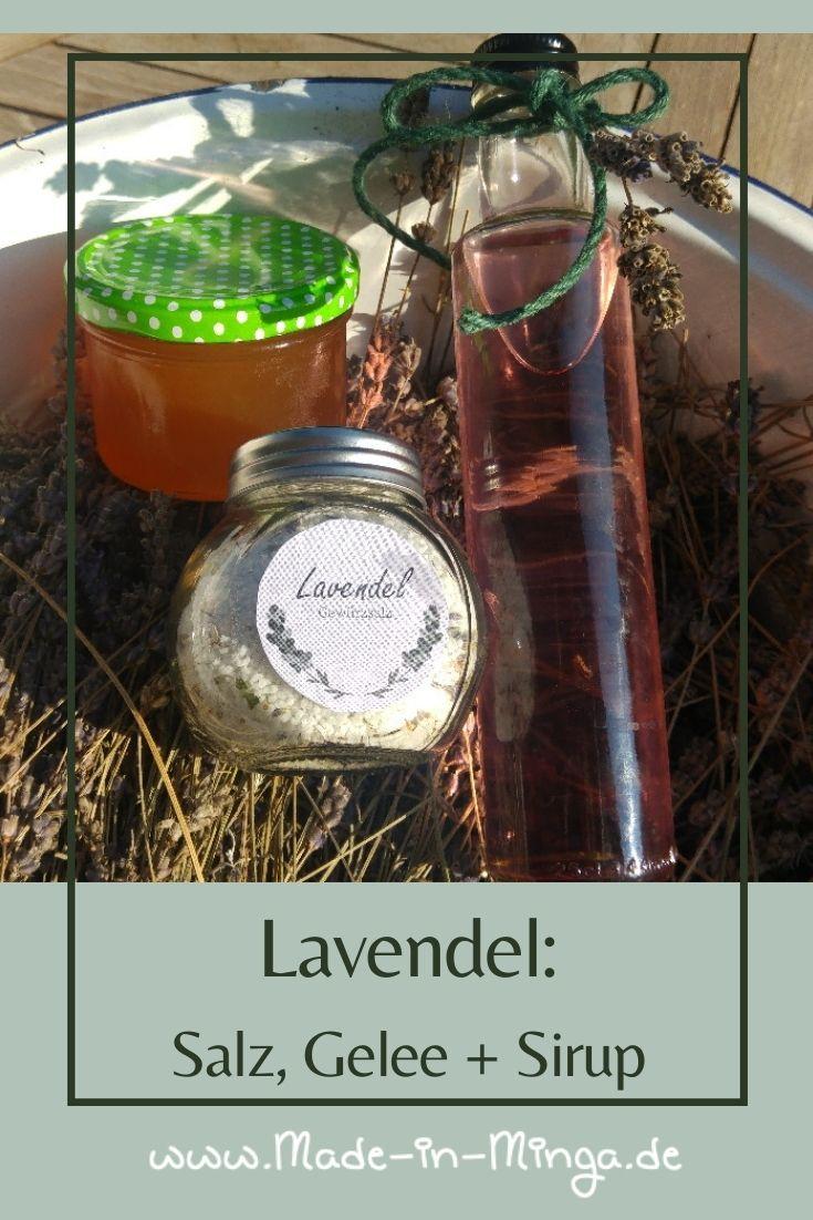 Gläser mit Sirup, Salz und Gelee aus Lavendel